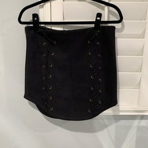 LF Suede Lace Up Black Skirt